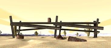 Cartoon Desert With Broken Down Fence Royalty Free Stock Photos