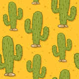 Cartoon Desert Cactus Seamless Pattern Royalty Free Stock Photo