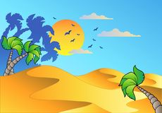 Cartoon desert landscape Royalty Free Stock Images