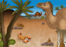 Cartoon Desert Landscape Stock Photos