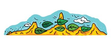 A cartoon desert and mountains landscape illustration. Cartoon style Royalty Free Stock Image