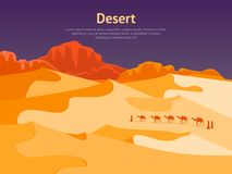 Cartoon Desert with Silhouettes Camels and People Card Poster. Vector. Cartoon Desert with Silhouettes Camels and People Card Poster Travel Africa Landscape Flat Stock Photo