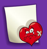 Cartoon design with broken heart. Cartoon design illustration with blank page and broken heart Stock Photography