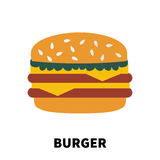 Cartoon design burger icon. Royalty Free Stock Photo