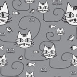 Cartoon design with cat. seamless pattern.  illustration Stock Images