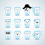 Cartoon design cute tooth character with different facial expressions, emotions. Set, collection of emoji . Cartoon design cute tooth character with different Stock Images