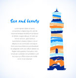 Cartoon design of  drawn silhouette of lighthouse, beacon. Marine symbol Stock Images