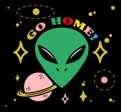 Head alien say go home. Cartoon design green face alien with stars planet and letters `go home!` on dark background. Modern vector illustration print for street Stock Images