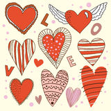Cartoon design hearts set Stock Photo