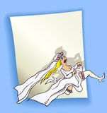 Cartoon design with running bride Royalty Free Stock Image