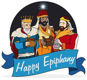 Cartoon Design with the Wise Men and Ribbon for Epiphany, Vector Illustration Stock Image