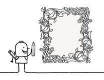Cartoon Designer Drawing a Vintage Style Blank Frame Royalty Free Stock Image