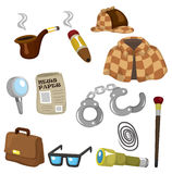 Cartoon detective equipment icon set Stock Photos