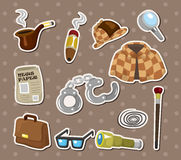 Cartoon Detective Equipment Stickers Stock Images