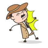 Cartoon Detective Got Hurt by Hit Vector Illustration Stock Images