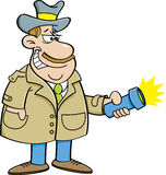 Cartoon detective holding a flashlight. Royalty Free Stock Photography