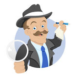 Detective - Cartoon Character - Vector Illustration Stock Image