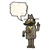 Cartoon detective solving case Royalty Free Stock Photography