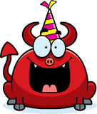 Cartoon Devil Birthday Party. A cartoon illustration of a little devil with a party hat looking happy Stock Photography
