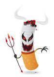 Cartoon devil cigarette, vector Stock Image