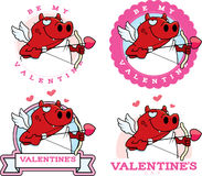 Cartoon Devil Cupid Graphic. A cartoon illustration of a devil cupid in a Valentine's Day themed graphic Stock Image