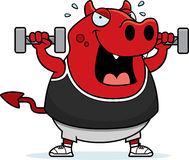 Cartoon Devil Dumbbells Stock Images