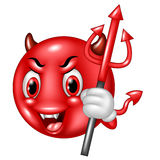 Cartoon devil emoticon with trident isolated on white background Royalty Free Stock Photo