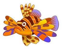 Cartoon devil firefish. Cartoon cute devil firefish isolated on white background Royalty Free Stock Photos