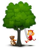 Cartoon devil girl and dog play under the tree. Illustration of Cartoon devil girl and dog play under the tree Royalty Free Stock Photos