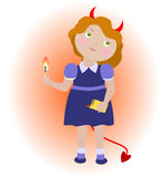 Cartoon devil girl with matches. Stock Images