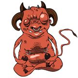 Cartoon devil hell. Cartoon  illustration of funny devil or demon sit and maditate in hell Royalty Free Stock Image