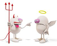 Cartoon Devil laughing at an angel. 3d rendering Royalty Free Stock Photo