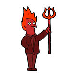 Cartoon devil with pitchfork Stock Images