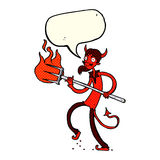 Cartoon devil with pitchfork with speech bubble Stock Photo