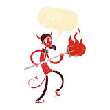Cartoon devil with pitchfork with speech bubble Royalty Free Stock Images