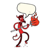 Cartoon devil with pitchfork with speech bubble Royalty Free Stock Photography