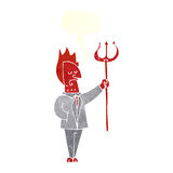 Cartoon devil with pitchfork with speech bubble Stock Photos