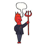Cartoon devil with pitchfork with speech bubble Royalty Free Stock Photos