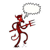 Cartoon devil with pitchfork with speech bubble Stock Images