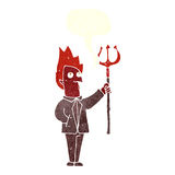 Cartoon devil with pitchfork with speech bubble Stock Image