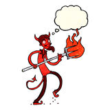 Cartoon devil with pitchfork with thought bubble Stock Images