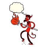 Cartoon devil with pitchfork with thought bubble Stock Photos