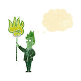 Cartoon devil with pitchfork with thought bubble Royalty Free Stock Photography