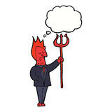 Cartoon devil with pitchfork with thought bubble Royalty Free Stock Image