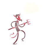 Cartoon devil with pitchfork with thought bubble Stock Photo