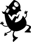 Cartoon Devil Silhouette Jumping Royalty Free Stock Image