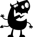 Cartoon Devil Silhouette Waving Stock Photography