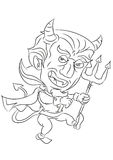 Cartoon devil smiling and dancing coloring page Stock Photos