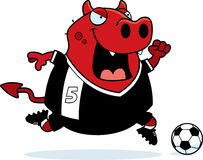 Cartoon Devil Soccer. A cartoon illustration of a devil playing soccer Royalty Free Stock Photo