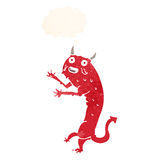 Cartoon devil with thought bubble Royalty Free Stock Image